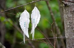 White leather feather earrings, long earrings, wedding jewelry for brides, white swan, festival fashion, swarovski earrings, birds feathers by MAMMBAaccessories on Etsy