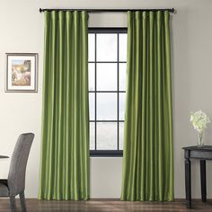 If you're looking Faux Silk Taffeta Curtains to fit your style and budget, check out these luxurious fern curtains. Find Faux Silk Taffeta window treatments at Half Price Drapes. Drapery Panels, Drapes Curtains, Linen Curtain, Green Curtains, Earth Tone Colors, Silk Taffeta, Colorful Curtains, Room Darkening, Space Furniture