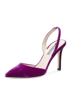 Bliss+Velvet+90mm+Slingback+Pump in Royal Purple+by+SJP+by+Sarah+Jessica+Parker+at+Neiman+Marcus.
