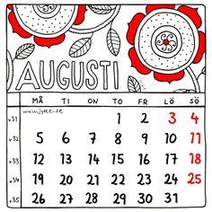 Augusti 2013. Kalender av Jytte Hviid.