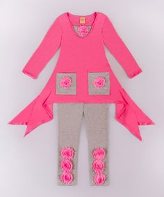 Loving this Pink & Gray Handkerchief Tunic & Leggings - Toddler & Girls on #zulily! #zulilyfinds