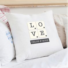 White Cushion Covers UK - Personalised Love Cushion Cover - http://www.vivabop.co.uk/products/personalised-love-cushion-cover