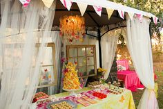 A garden party for a old? When a sweet little girl has a birthday, you know mama is going to go all out. This butterfly garden birthday party Butterfly Birthday Party, Garden Birthday, Birthday Party Themes, Birthday Ideas, Birthday Table, Summer Birthday, Birthday Pinata, Colorful Birthday, Baby Birthday