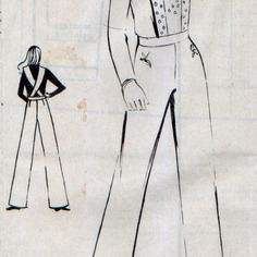 """Patron """"pochette"""" vintage 70's, salopette pattes d'eph, """"juniors"""" modes & travaux."""