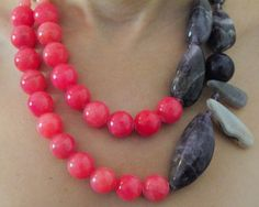 Candy Jade and Amethyst Necklace by Dalia Koss.