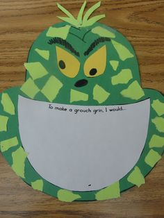 Cute Grinch Art Activity and Writing!!