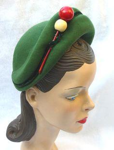 40's 50's Vintage Green Felt Hat With Wooden by MyVintageHatShop, $37.00