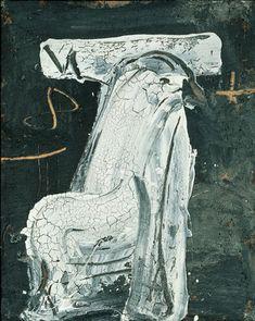 Antoni Tàpies, Cadira blanca craquelada, 1988, 162×130 cm.