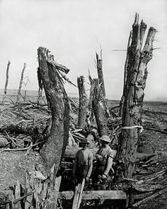 WW1, 1916. A smashed up German trench at Morval on the Somme, Western Front. ©…