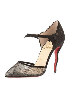 Magicadiva+Lace/Suede+Red+Sole+Pump,+Black+by+Christian+Louboutin+at+Neiman+Marcus.