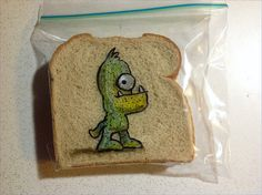 David Laferriere draws on his kids' lunchbags