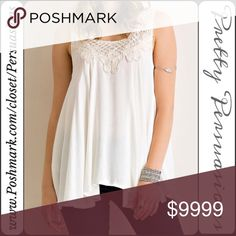 """SALE‼️ Cream Floral Crochet Flowy Sleeveless Top NWT Cream Floral Crochet Trim Flowy Sleeveless Top  Available in S, M, L Measurements taken from a small  Length: 27"""" Bust: 40"""" Waist: 42""""  Rayon  Features  • floral crochet neckline  • flowy, relaxed easy fit • sleeveless  • soft, breathable material   Bundle discounts available  No pp or trades  Item # 1/10230340CFCT crochet lace cream Pretty Persuasions Tops Tank Tops"""