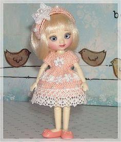 Amelia Thimble Dolls Peach Dress and Headband by JCsTinyTreasures, $19.00