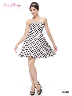 Strapless Black White Polka Dot Rhinestone Cocktail Dress