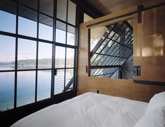 View from upstairs. Chicken Point Cabin. Olson Kundig Architects. Oh what I wouldn't do for that view and those windows!