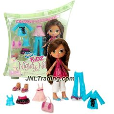 MGA Entertainment Bratz Kidz Nighty Nite Series 7-1/2 Inch Doll - YASMIN with 3 Sets of Snap On Pajama Outfits, Purse and 2 Pairs of Shoes