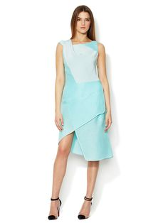 Textured Asymmetrical Cowl Neck Dress by Narciso Rodriguez at Gilt