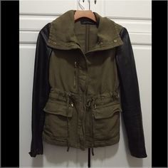 Zara military olive jacket sz XS Used but still in good condition Zara military olive jacket w/ 100% lamb leather sleeves. Sz XS. The only flaw is shown on the third picture. I bought the jacket like this. Popular jacket and seen on many bloggers. Zara Jackets & Coats Utility Jackets