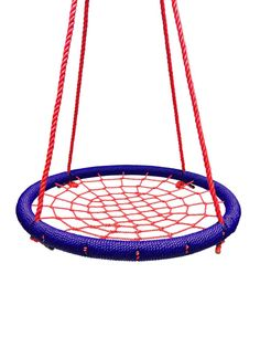 """SkyBound Giant Round 40"""" Tree Swing Net- Blue and Red (NS-100-NAVRED)  Descriptions: SkyBound's giant round tree swing net provides hours of fun for people of"""