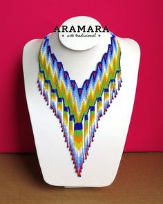 Dimensions Necklaces length is 16 inches (40.64 cms) Earrings length is 4.7 inches (11.93 cms) The Huichol represent one of the few remaining indigenous cultures left in Mexico. They live in self-imposed isolation, having chosen long ago to make their home high in the mountains of the