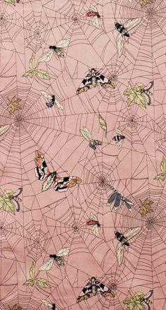 Moths & webs on pink