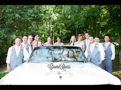 Gray vests, coral and turquoise accents, vintage car, wedding party. Loves that we got to use this awesome prop!