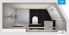 Deze badkamer heeft een afmeting van slechts 2,46 x 1,13 meter en heeft een schuine kant waarin de deur is geplaatst. Meer info: http://vanwanrooijtiel.nl/product/smalle-badkamer-schuine-inloop/