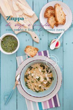 Zuppa di orzo e miglio con pesto e foglie di cavolo nero by Fiordirosmarino