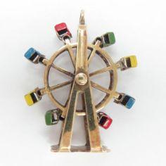 14 KT Charm Yellow Gold Enameled 3D Movable Ferris Wheel Pendant Vintage