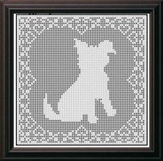 crochet puppy doily | Filet Crochet Patterns - Dogs - SHAGGY DOG FILET CROCHET PATTERN Doily ...