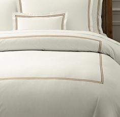 Italian Hotel Satin Stitch Ivory Duvet Cover  from RH - not necessarily the color, but the style. I ordered samples for our review.