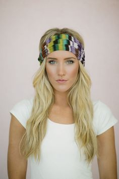 Tie Dye Mesh Stretchy Headband MultiColor Gauze by ThreeBirdNest