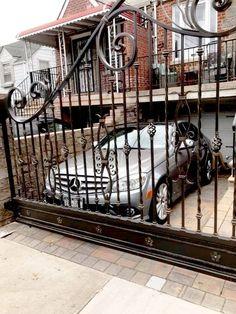 Decorative Wrought Iron Driveway Gate Drive Gates, Wrought Iron Driveway Gates, Grades, Fence Gate, Blacksmithing, Ta Tas, Iron, Home, Wrought Iron Doors