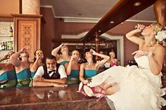 Stop at the bar for a 'to-go-shot' w/ the girls & bartender. maybe before the reception?