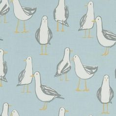 Fabric shop online: Laridae Duck Egg, a printed curtain fabric, suitable for any upholstery need. Buy fabrics at Thread & Loop. Large Footstools, Oilcloth Tablecloth, Made To Measure Curtains, Fabric Houses, Duck Egg Blue, Fabric Birds, Curtain Fabric, Fun Prints, Color Show