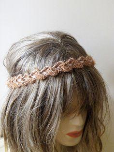 crochet headband hair band brown headband Boho by selenayy on Etsy Crochet Hair Accessories, Crochet Hair Styles, Winter Accessories, Macrame Headband, Bohemian Headband, Hair Necklace, Hair Jewelry, Crochet Clothes, Diy Clothes