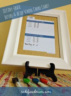 Get your child back in the swing of things and ready for a successful year with this easy DIY Dry-Erase Chore Chart that has both before and after school sections.  Includes a FREE printable.