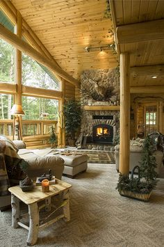 Log Cabin by Golden Eagle Log Homes by Golden Eagle Log Homes, via Flickr....table and windows...