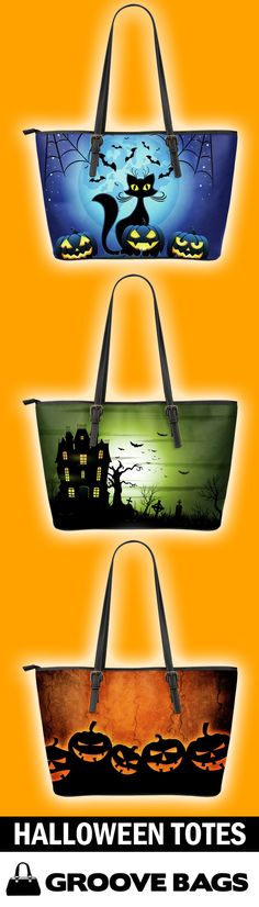 Halloween Tote Bags are perfect for the scaring season. Get into the holidays with these high quality leather totes.