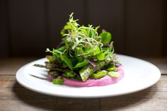 photo of Roasted Ruby Beetroot Ricotta with Pan-fried Asparagus and Broad Bean Salad