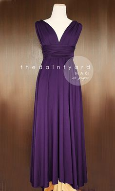 MAXI Grape Bridesmaid Convertible Long Dress--Infinity Multiway Wrap Dress Royal Dark Deep Purple Full Length--COMES IN A SHORTER VERSION!