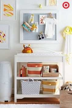 Maximize your baby changing table setup by having all your diapering essentials nearby. A pegboard above the changing table allows for quick and easy access to creams, lotions, wipes and extra clothes for those oh-so memorable (icky) moments. And, the open-shelf Eddie Bauer Langley Changer easily stores the bulky items like diapers, wipes, blankets and toys. What's not to love?!