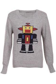 "ROMWE | ""Cartoon Robot"" Grey Jumper, The Latest Street Fashion"