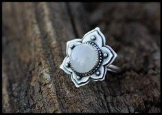 Moonstone silver ring lotus: Lotus flower ring - Moonstone ring - Yoga jewelry - Unique ring spiritual - Silver statement ring -Mandala ring by AnniamAeDesigns on Etsy