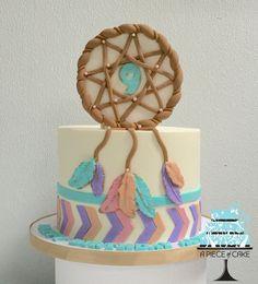 Boho buttercream cake with fondant dream catcher