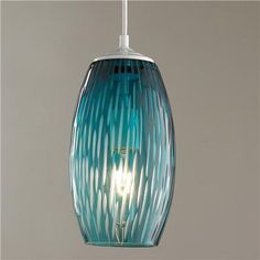 Etched Lines Glass Pendant Light Lovely blue glass with deep etchings down the sides for texture. Flip the switch and a soft glow appears, brightening your space. Approximately 12 H x max medium base socket. Island Pendant Lights, Kitchen Pendant Lighting, Kitchen Pendants, Modern Pendant Light, Glass Pendant Light, Glass Pendants, Glass Light Shades, Pendant Lamps, Beach Lighting