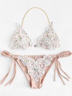 c2b7c1dd073 #Valentines #AdoreWe #ROMWE - #ROMWE Lace Overlay Rhinestone Bikini Set -  AdoreWe