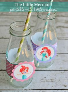 The Little Mermaid Printable Milk Bottle Wrappers with Ariel Cutouts #Disney #TheLittleMermaid #Ariel