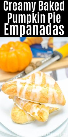 #ad Creamy Baked Pumpkin Pie Empanadas is healthier and easy dessert recipe perfect for Holiday entertaining made with a trusted brand, @Pillsbury Crescent Rolls. They are mini kid-approved treats with all the flavors of the fall season and pumpkin pie while saving time to spend with family. #ItsBakingSeason | beckysbestbites.com @pillsbury