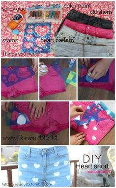DIY Shorts! Use stencils and acrylic paint for cute polka dots, hearts, stars or whatever!